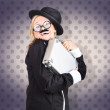 Funny female character in suit showing fun at work — Stock Photo
