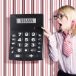 Business woman holding money savings calculator — Foto Stock