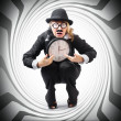 Vintage business man stuck with clock. Time crunch — Stockfoto