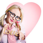Hopeless romantic girl showing signs of love — Stock Photo