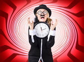 Mad scientist in space time warp — Stock Photo