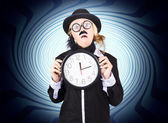 Nutty professor with clock. Crazy science time — Stock Photo