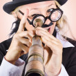 Stock Photo: Scientist searching for cure with telecope