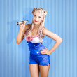 Retro style pin-up sailor girl on blue background — Stok fotoğraf