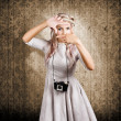 Grunge girl with retro film camera concept framing - Stock Photo