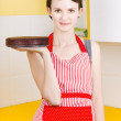 Woman in Red Apron with Chocolate Cake — Stock Photo