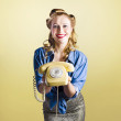 Pin-up hotline phone operator. Call Us! — Stock Photo #24151327