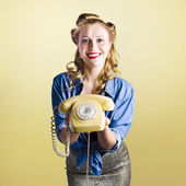 Pin-up hotline phone operator. Call Us! — Stock Photo