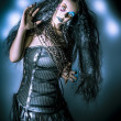Grunge brunette vintage woman in black fashion — ストック写真