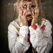 Shock horror. Surprised businesswoman zombie — Stock Photo