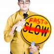 Man speeding up process — Foto de Stock