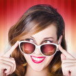 Face of a retro pinup girl in trendy sunglasses — Zdjęcie stockowe