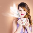 Love is in the air. Woman with coffee cup — Stock Photo