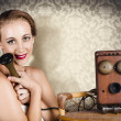 Womin vintage daydream with operator phone — Stock Photo #26147583