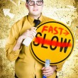 Worker showing sign to fast track productivity - Stockfoto
