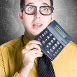 Finance office worker thinking with big calculator — Stock Photo