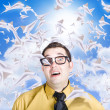 Insane business man with busy travel schedule — Stock Photo