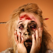 Shocked horror halloween zombie with hands face — Stock Photo
