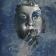 Icy window reflection. Wicked queen of winter — Stock Photo