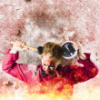 Zombie in fire holding clock. Out of time — Stock Photo