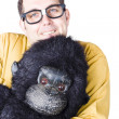 Man holding gorilla costume — Stock Photo