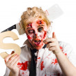 Undead woman with S sign — Stock Photo