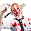 Undead woman with spray can — Stock Photo