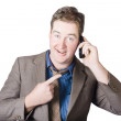 Businessman receiving good news on a great call — Stockfoto