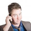 Confused business person on cell phone. Close call — Stok fotoğraf