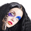 Woman in colorful fashion make up — Foto Stock