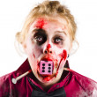 Stock Photo: Unlucky womwith dice in mouth