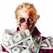 Worried zombie with Dollar bills - 图库照片