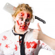 Bloody woman with cleaver in head — Stock Photo