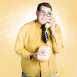 Geeky businessman on important phone call — Stock Photo