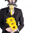 Min gas mask with flowers — Stock Photo #26191079