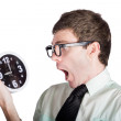 Stock Photo: Scared businessmwith clock