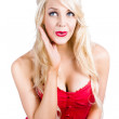 Surprised pin-up woman — Stock Photo