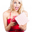 Overjoyed woman with valentine gift box — Stock Photo #26191253