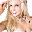 Stock Photo: Blond womwith necklace
