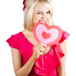 Stock Photo: Cute wombiting big red love heart