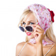 Classy young woman in headscarf and sunglasses — Stock Photo
