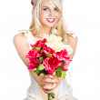 Pretty woman with flower bouquet — Foto de Stock
