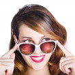Happy woman in fashionable eyewear — Stock fotografie