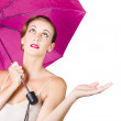 Stock Photo: Womwith umbrella
