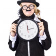 Crying woman in disguise holding clock — Stock Photo