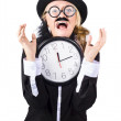 Woman in panic with behind schedule clock — Stock Photo