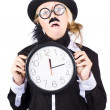 Past tense woman running out of time — Stock Photo