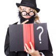 Wondering womwith text book question — Stock Photo #26191571