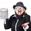 Stock Photo: Insane womshouting and holding calculator