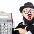Mad female accountant with calculator — Stock Photo